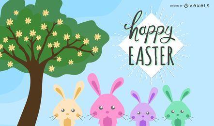 Fondo abstracto feliz de dibujos animados de Pascua