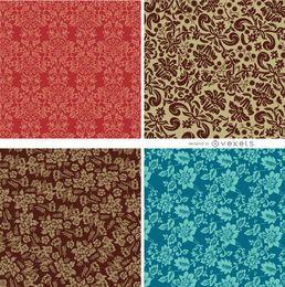 4 patrones florales sin costura
