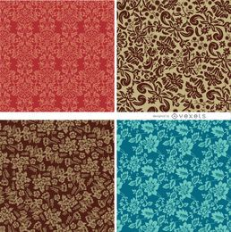 4 patrones florales sin fisuras