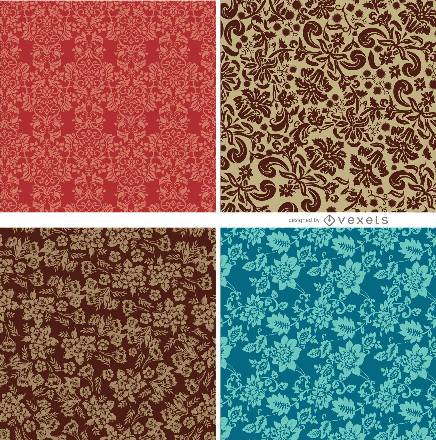 4 patrones florales inconsútiles