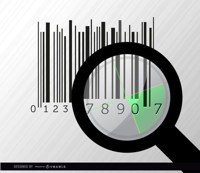 Codebar search magnifying glass radar
