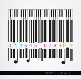 Design musical de piano Codebar