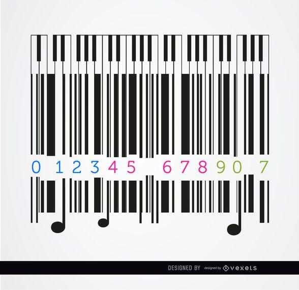 Codebar piano musical design