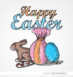 Ostern Zeichnung Kaninchen Süßigkeiten Eier