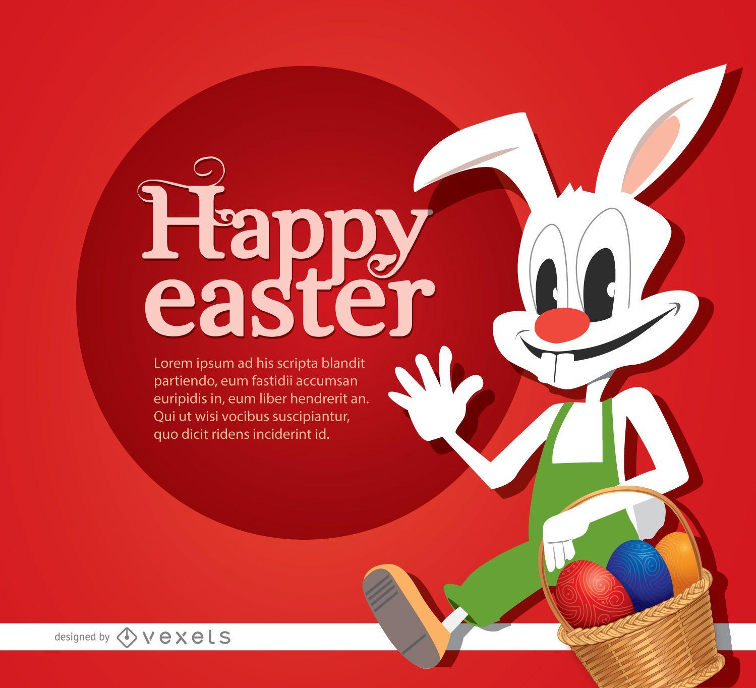 Cesta de ovos de coelho de desenho animado da Páscoa