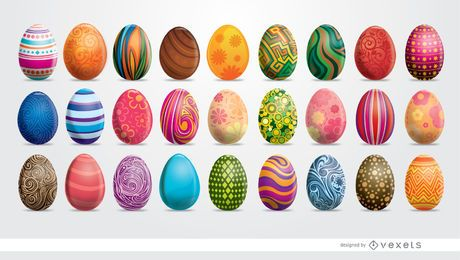 Set de 27 huevos de pascua pintados.