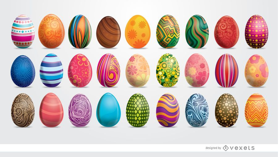 27 painted Easter eggs set