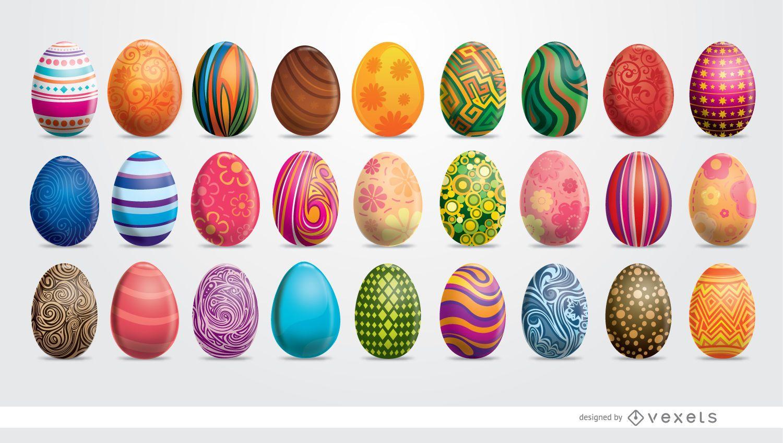 Set de 27 huevos de Pascua pintados