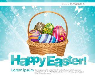 Huevos de Pascua canasta de fondo