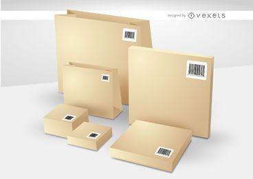Cajas y bolsas con barras de códigos.