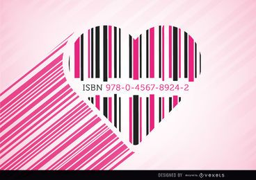 Barras de código de coração rosa