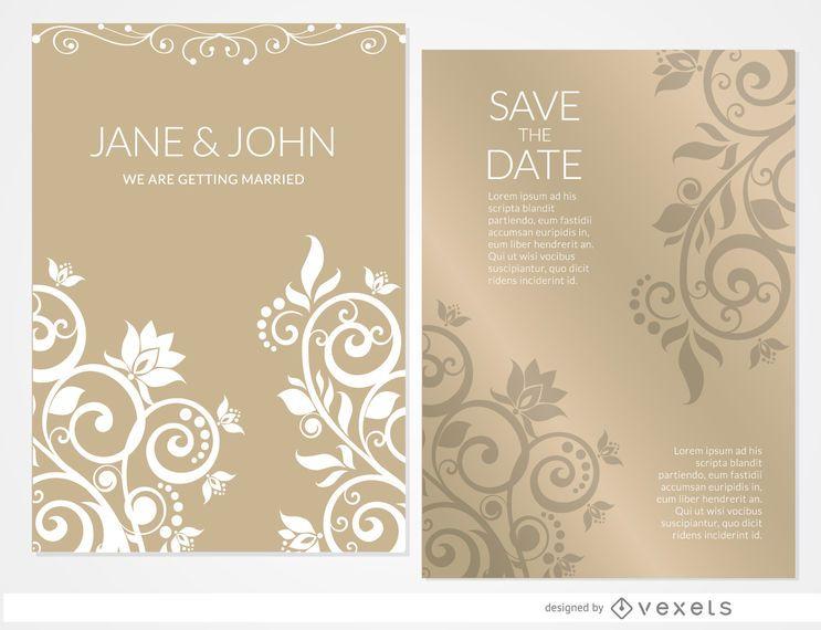 Invitación de boda floral dorada manga