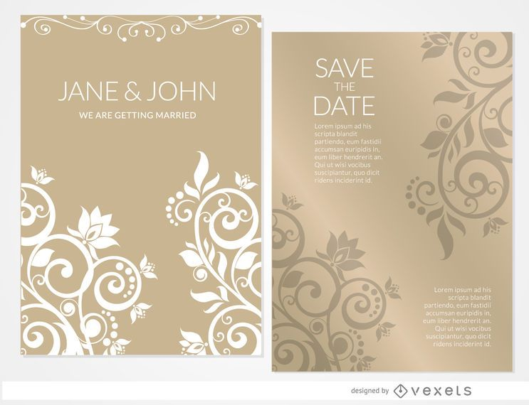 Luva de convite de casamento floral dourado