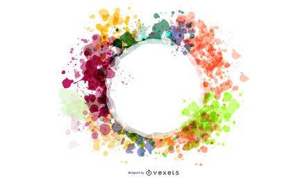 Banner circular espirrado em aquarela