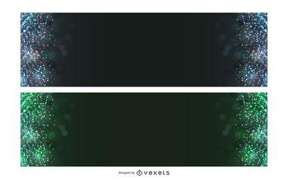 Banners de bokeh colorido escuro