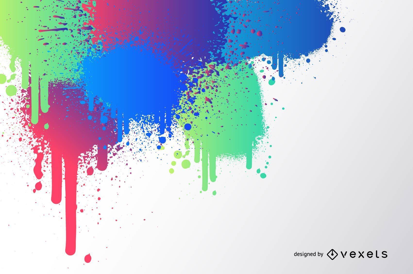 Colorful Splashed Paint Splatter Background