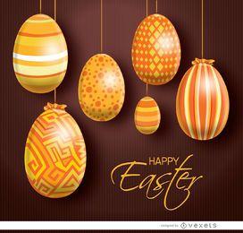 Colgando de naranja Huevos de Pascua de fondo