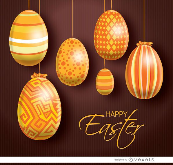 Hanging orange Easter eggs