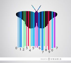 Codebar butterfly colorful