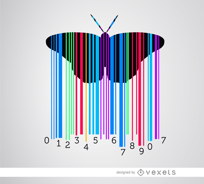 Codebar mariposa colorida