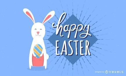 Banner feliz de dibujos animados de Pascua