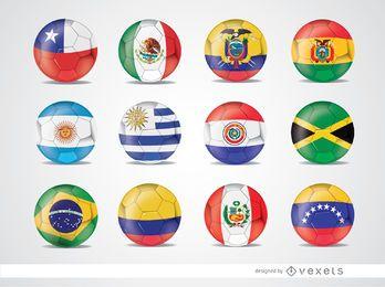 Bolas da bandeira da equipe da Copa América 2015