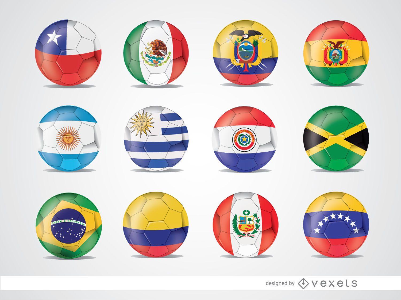 Copa America 2015 team flag balls