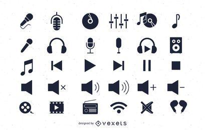 Pacote de ícones de áudio plano