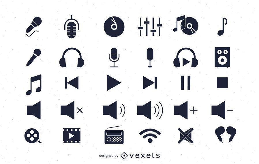 Flat Audio Icons Pack