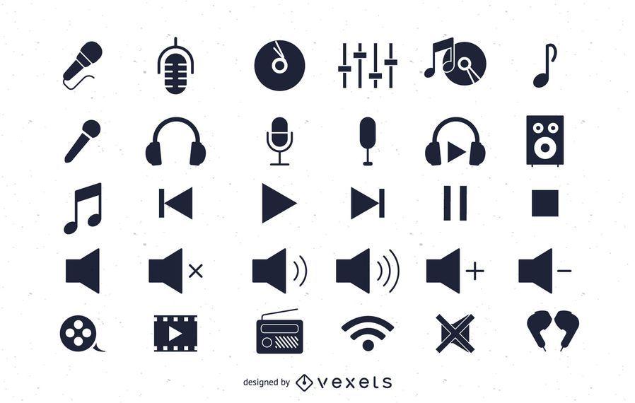 Pacote de ícones de áudio plana