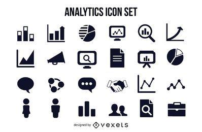 Gráficos y paquete de iconos de negocios analíticos