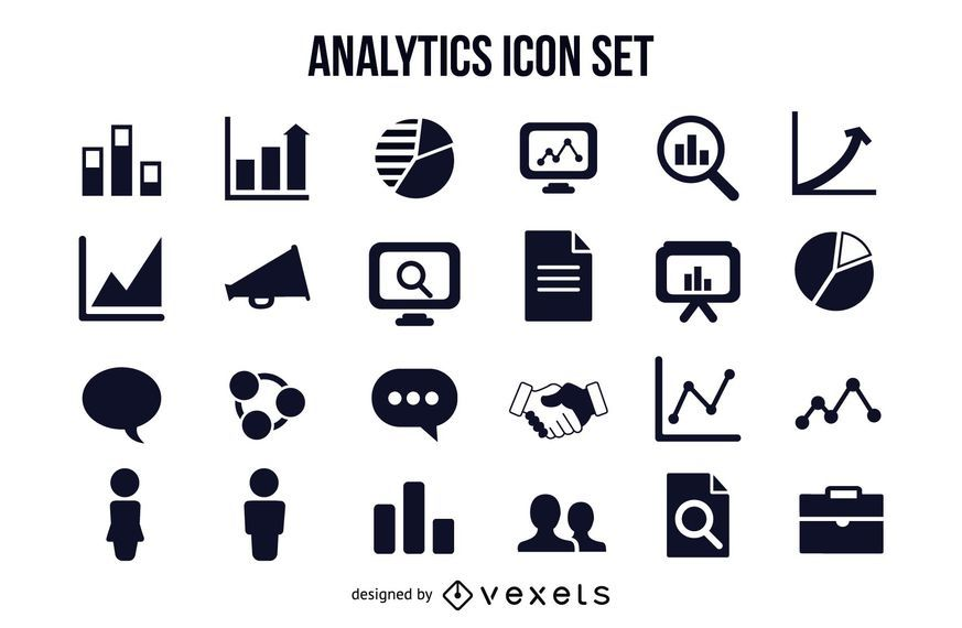 Pacote de ícones gráfico de negócios e analíticos
