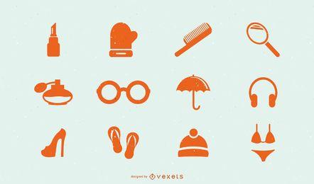 Iconos de accesorios de moda de hombres mujeres