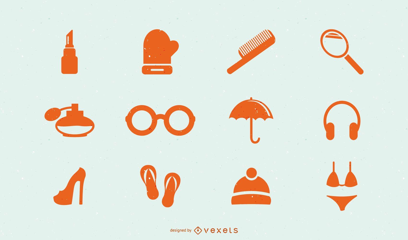 Ícones de acessórios de moda masculina e feminina