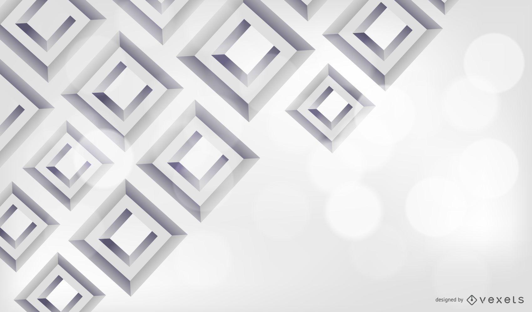 Fondo gris cuadrado diamante 3D