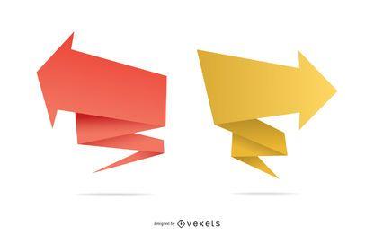 Plantillas de banners de origami de punta de flecha