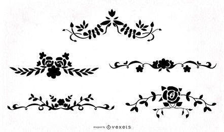 Pacote de redemoinhos florais ornamentais