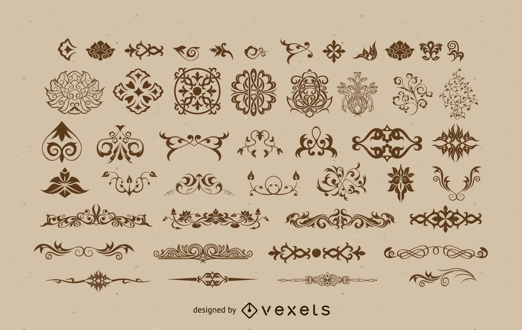 Vintage Small Floral Ornaments Pack