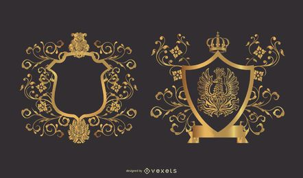 Emblemas decorativos de escudo heráldico