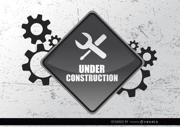 Bajo engranajes signo de la construcción