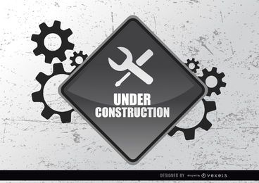 Under construction sign gears