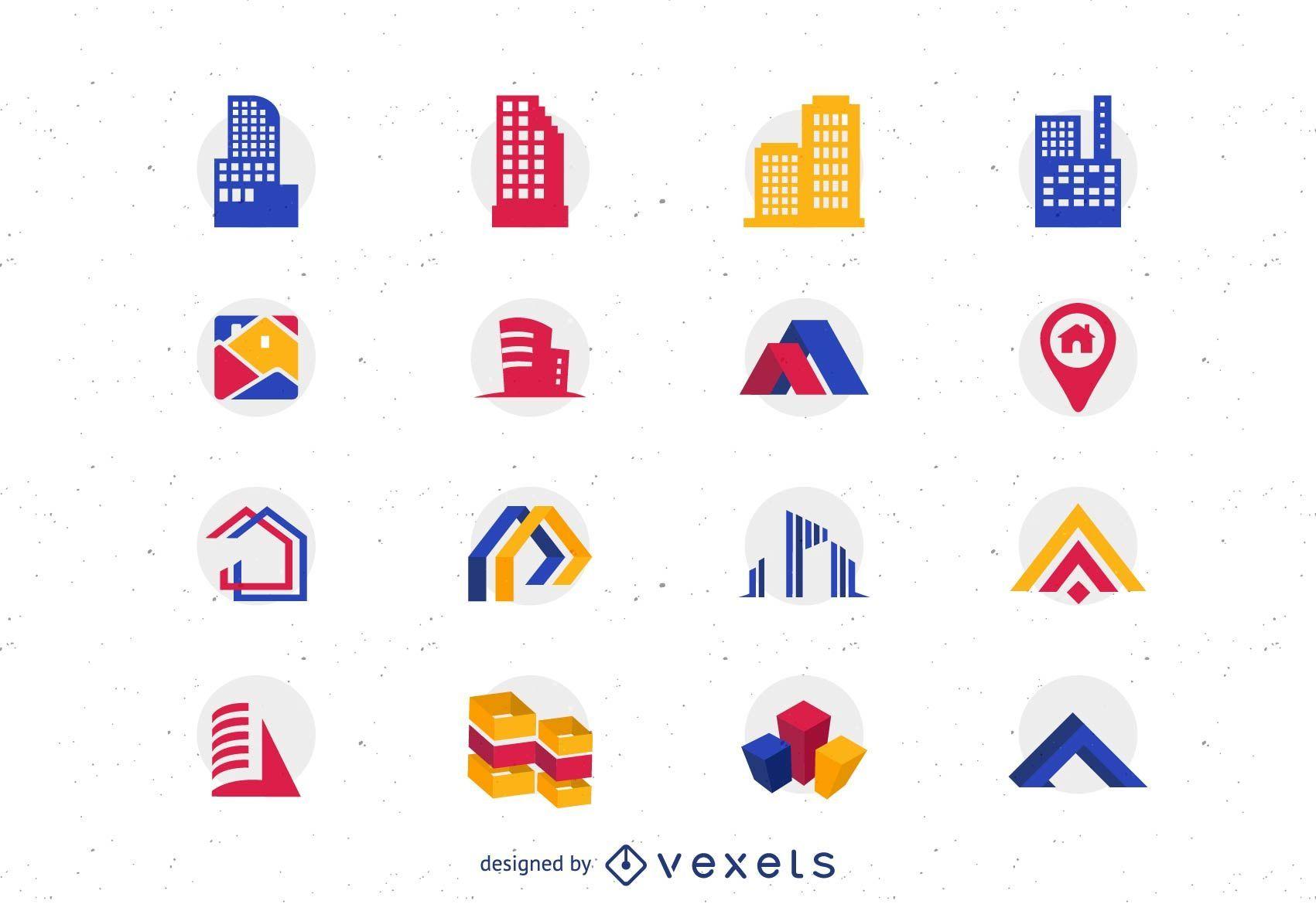 16 iconos vectoriales de bienes raíces