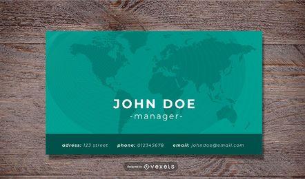Plantilla de tarjeta de visita corporativa de mapa mundial