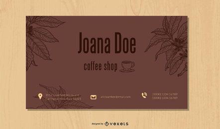 Tarjeta de visita exclusiva de la cafetería