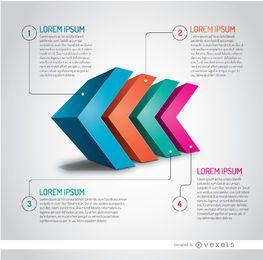 Cabeças de seta 3D infográfico