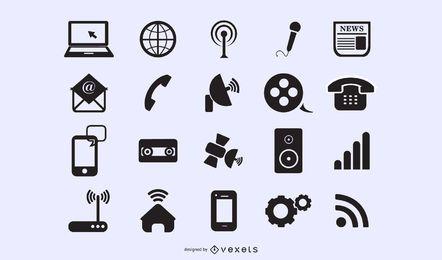 Planos iconos modernos de aplicaciones y webs
