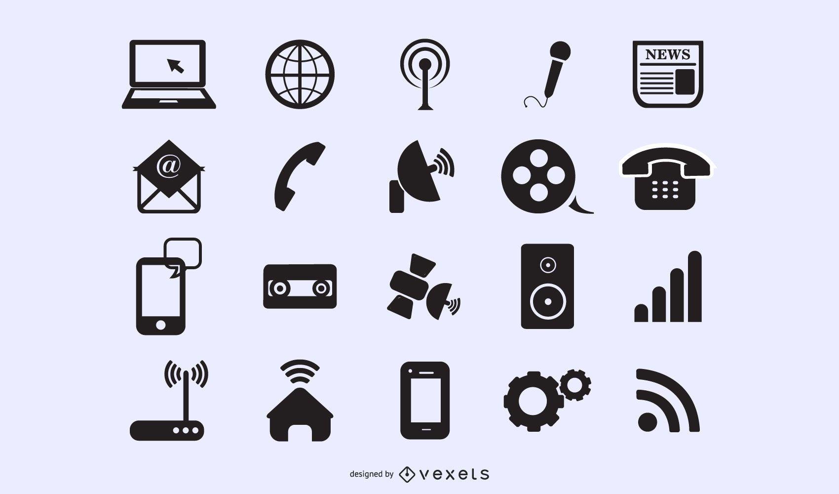 Iconos planos y modernos de aplicaciones y web