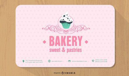 Plantilla de tarjeta de visita de esquina redonda de panadería