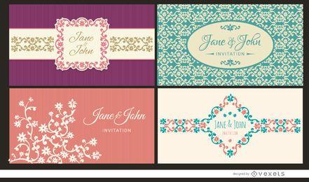 4 cartões de convite de casamento florais