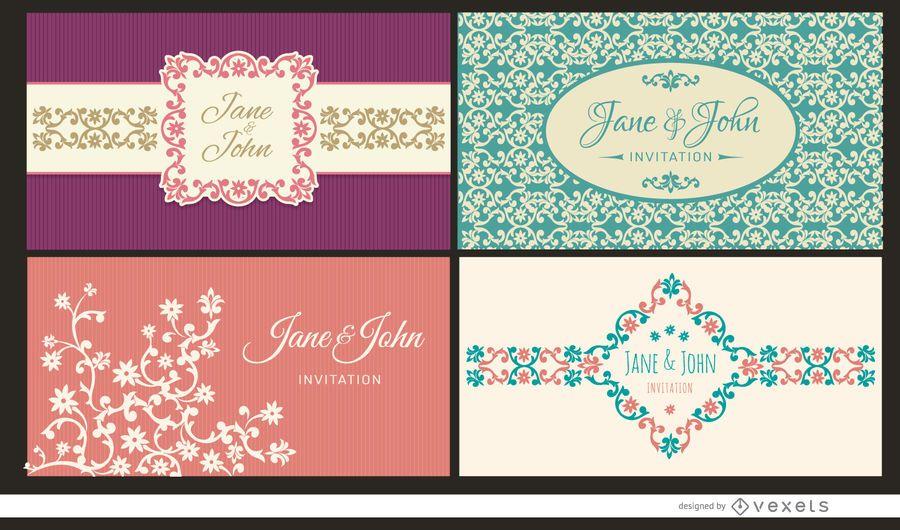 4 cartões de convite de casamento floral